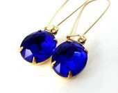 Cobalt Blue Earrings, Bridesmaid Earrings Vintage Glass Jewels 14K Gold Fill Brass