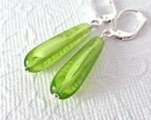 Lime Green Earrings - Vintage Givre Glass Teardrop - Sterling Silver Leverback Ear Wires