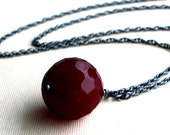 Deep Red Necklace,  Vintage Glass Drop, Blackened Sterling Silver, Oxidized Silver Jewelry, A Darker Love