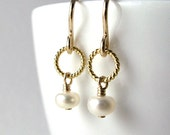 50% OFF Sale Gold Pearl Earrings, 14K Gold Fill Twisted Circle, Bridal Jewelry, Everyday Pearl Earrings