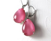 Opaque Pink Earrings, Vintage Glass, Sterling Silver Leverback Ear Wires