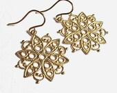 50% OFF SALE Filigree Earrings Brass Filigree 14K Gold Fill Ear Wires  Everyday Earrings