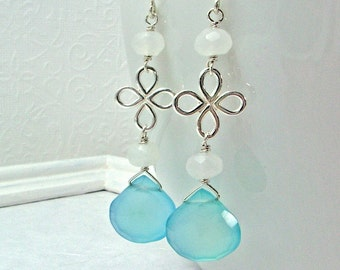 Sky Blue Chalcedony Earrings / Sterling Silver Flower / Snow Quartz Beads