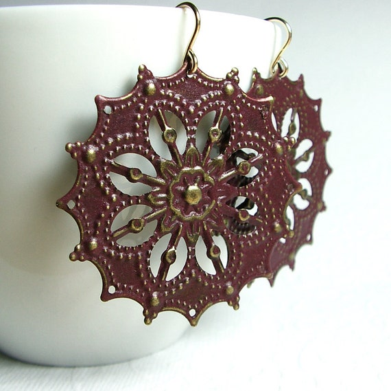 Wine Metal Filigree Earrings, 14K Gold Fill Ear Wires, Star Filigree