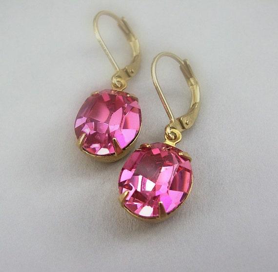 50% OFF SALE Hot Pink Fuchsia Earrings, Estate Style Vintage Swarovski Rhinestone Earrings, Oval Jewels, Brass Leverbacks