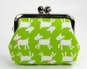 Earbud Holder Clasp Change Purse Small Frame Pouch Kawaii Goat Lime Green