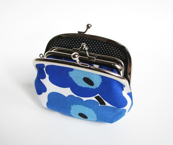 Mother and Daughter Frame Purse Marimekko Mini Unikko Blue Made to Order