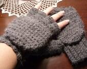Super Thick and Warm Alpaca Wool Crocheted Convertible Fingerless Mittens/Gloves - Ebony Black Dark Grey