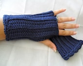 Crocheted Navy Fingerless Gloves - Dark Country Blueberry - Great for Fall Fashion