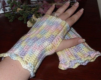 Crocheted Fingerless Gloves - Pastel Ombre - Great for Fall Fashion