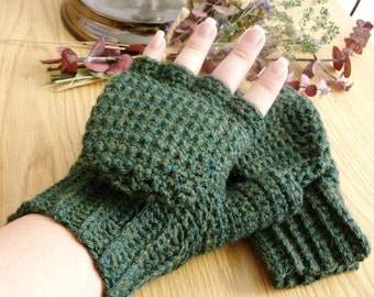Warm Wool Crocheted Forest Heather Convertible Fingerless Mittens/Gloves - Green Blue Yellow