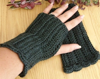 Crocheted Fingerless Gloves - Deep Teal Blue Green Heather - Great for Fall Fashion