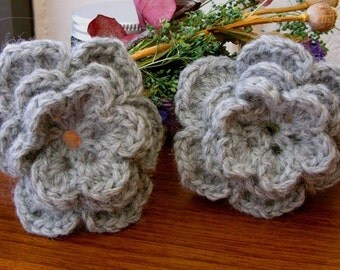 Pair of Grey Heather 3D Crocheted Wool Flower Appliques - Perfect for Hair Clips