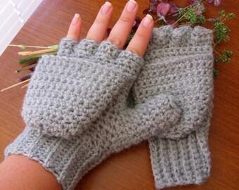 Gray Wool Convertible Mittens - Gray Convertible Mittens - Wool Convertible Mittens - Gray Wool Glittens - Wool Glittens - Gray Wool Mittens