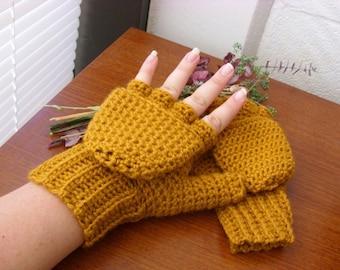 Gold Wool Convertible Mittens - Gold Wool Glittens - Gold Wool Fingerless Mittens - Gold Wool Mitts - Yellow Wool Convertible Mittens