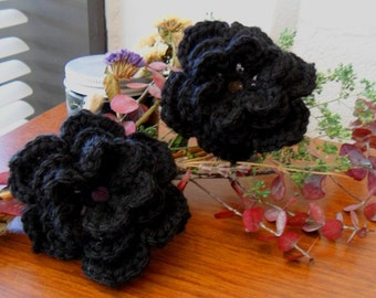 Pair of Midnight 3D Crocheted Wool Flower Appliques - Black - Perfect for Hair Bows