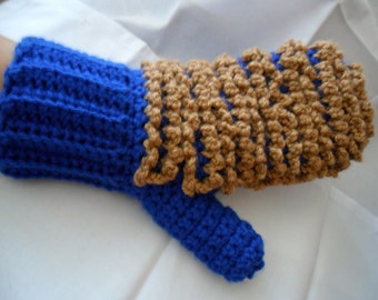 Blue and Almond Brown Bright Ecofriendly 2-Sided Dusting Mitt - Washable and Reusable
