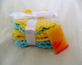 Crocheted Blue Skies and Sunshine Wash and Face Cloth Spa Set - SAMPLE soap included