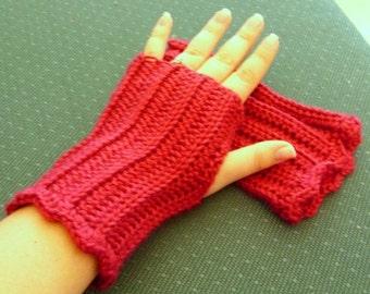 Crocheted Fingerless Gloves - Raspberry