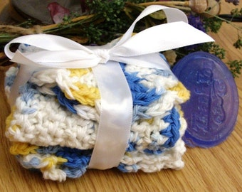 Crocheted Sun Kissed Wash and Face Cloth Spa Set - SAMPLE soap included