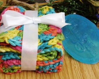 Crocheted Neon Rainbow Wash and Face Cloth Spa Set - SAMPLE soap included