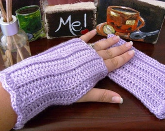 Crocheted Fingerless Gloves - Orchid Light Purple Lavender - Great for Fall Fashion