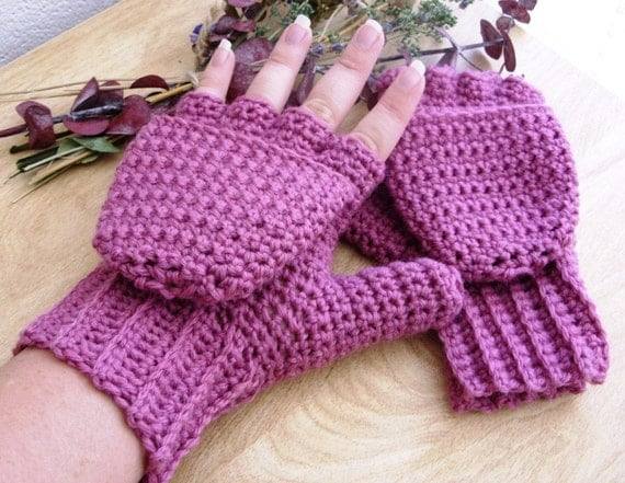 Warm Wool Crocheted Rose Convertible Fingerless Mittens/Gloves - Pink