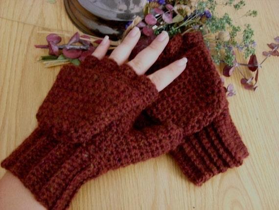 Warm Wool Crocheted Chestnut Heather Convertible Fingerless Mittens/Gloves - Marsala Red Maroon Brown