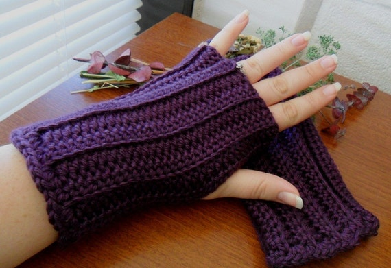 Crocheted Fingerless Gloves - Wrist Warmers - Arm Warmers - Gauntlets - Texting Gloves - Deep Plum Purple - Great for Fall Fashion
