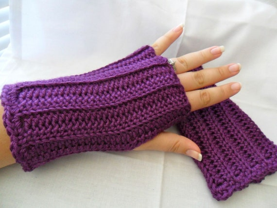 Crocheted Fingerless Gloves - Violet Royal Purple Grape - Great for Fall Fashion
