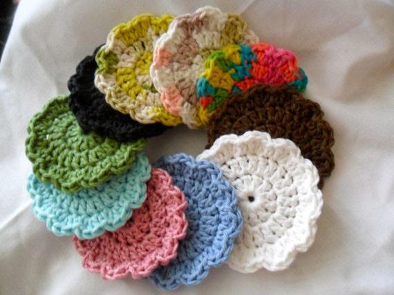 Crochet Grab Bag Pattern : Grab Bag of 10 Crocheted Flower Face Cloth by marinebiochic07