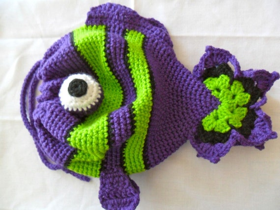 Fish Drawstring Purse - Purple and Lime Green - 50 PERCENT of sale donated to the Animal Rehabilitation Keep (ARK)