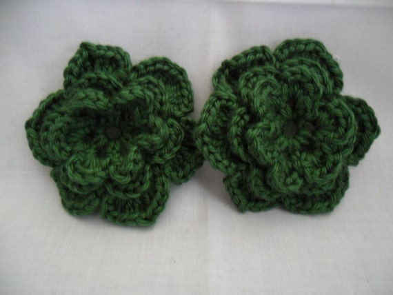 Pair of Dark Sage Green 3D Crocheted Flower Appliques - Pine Evergreen Forest - No Animal Fibers - Perfect for Hair Clips