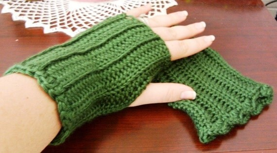 Crocheted Fingerless Gloves - Dark Sage Green