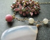 Asymettrical Necklace Rose Quartz Vintage Pink Flower, A Little Pink Me Up