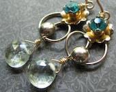 Handmade Earrings Aquamarine and Vintage Gold Flower- Vinca
