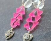 Earrings Hot Pink Heart Repurposed Vintage Statement- Frenetic II