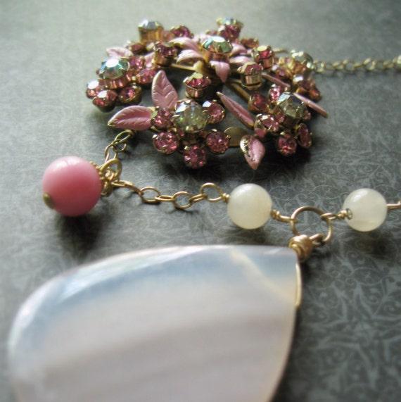 Asymettrical Necklace Rose Quartz Vintage Pink Flower, A Little Pink Me Up