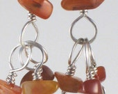Carnelian and Sterling Dangle Earrings