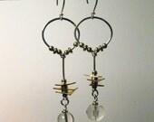 Crystal Asymmetric Dangle Sterling Hoop Earrings