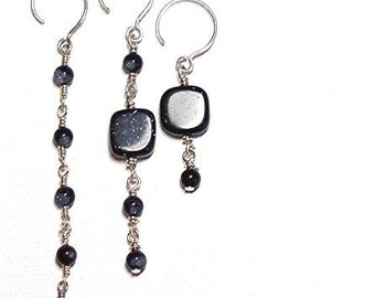 Earrings Sterling Silver and Blue Goldstone