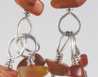 Carnelian and Sterling Dangle Earrings