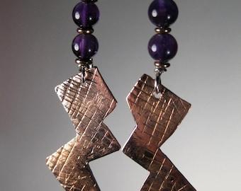 Earrings Amethyst and Copper Dangle