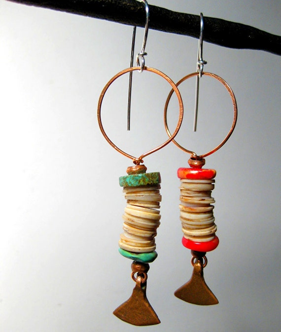 Tribal Copper Earrings Mismatched