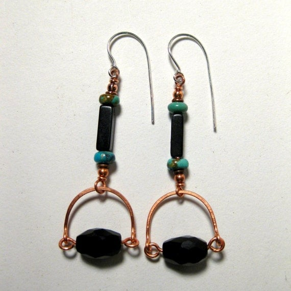 Dangle Earrings Turquoise Faceted Black and Copper