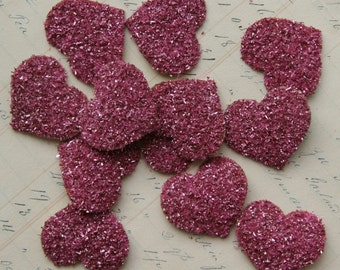 SIX Glass Glitter Hearts ROSE PINK