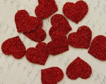 SIX Glass Glitter Hearts RED