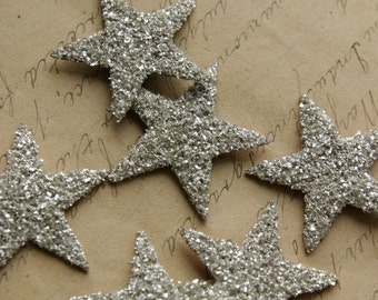 SIX Glass Glitter Stars  S I L V E R