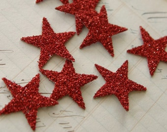 SIX German Glass Glitter Stars  R E D