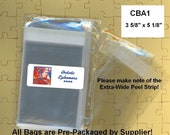 CBA1 - 100 BOPP Flat Cello Bags - 3 5/8 x 5 1/8 for A1 Card - Retail Packaging, Storage, Organizing - Amazing Qty Discount